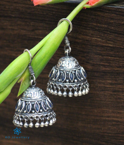 The Mithil Silver Jhumka (Blue)