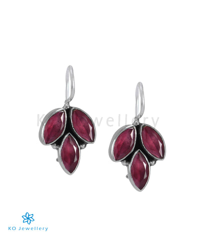 The Mrinal Silver Gemstone Earrings (Red)