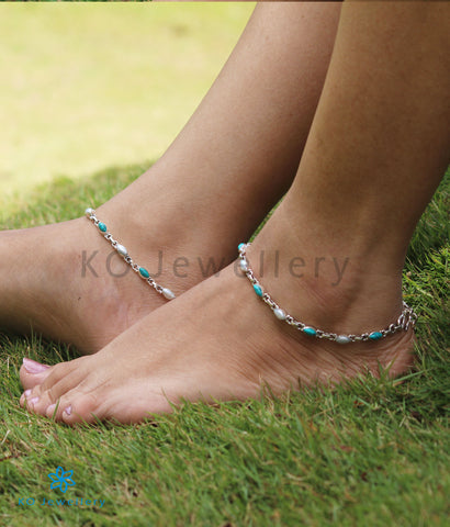 The Varna Silver Gemstone Anklets (Pearl/Turquoise)