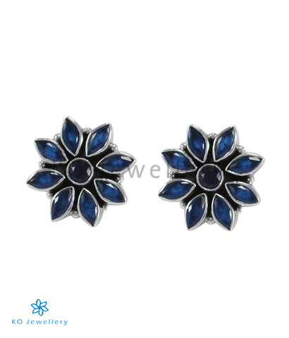 The Samad Silver Gemstone Earrings (Blue)