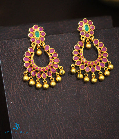 Traditional Indian chandbali design, gold-dipped with gemstones