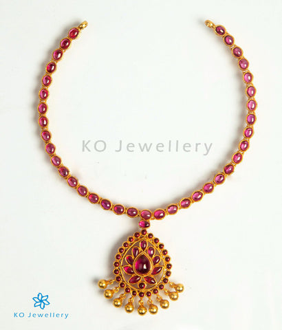 The Vanya Silver Kempu Necklace (Red)