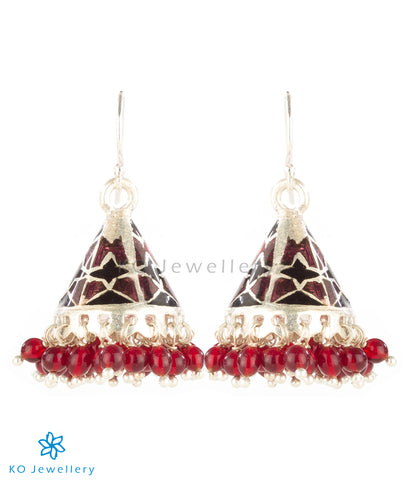 The Parveen Silver Minakari Jhumka(Brown)
