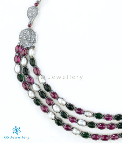 The Aparajita Silver Necklace(Multi-colour)