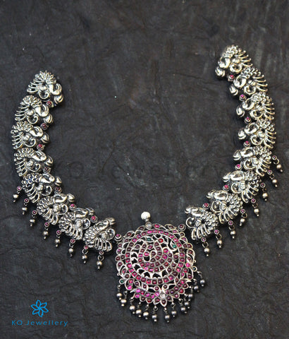 The Navya Silver Peacock Necklace (Oxidised)