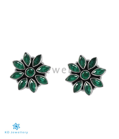 The Samad Silver Gemstone Earrings (Green)