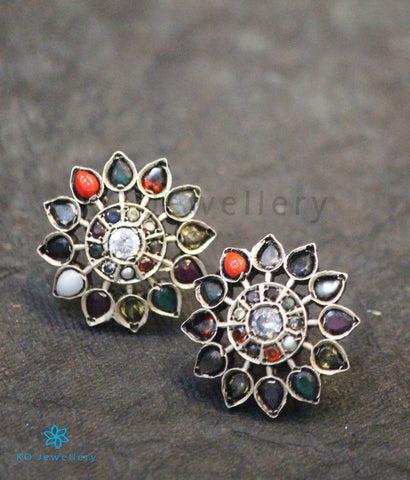The Anahita Silver Ear-studs (Navratna/Oxidised)