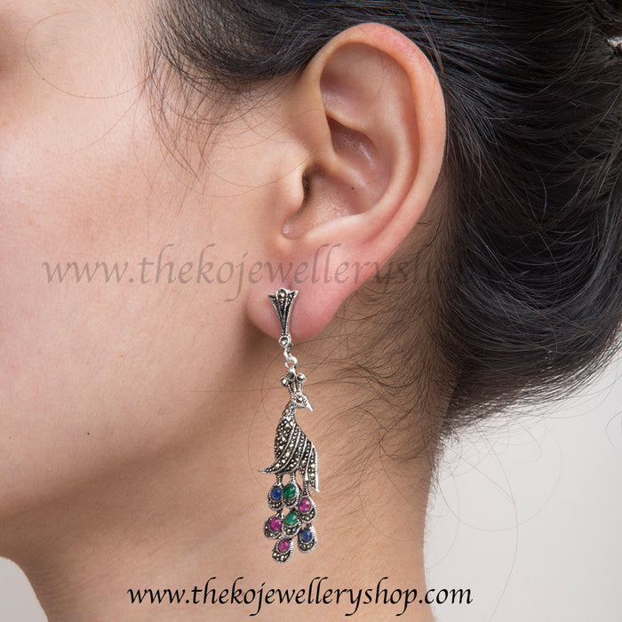 Buy online hand crafted silver peacock earrings for women