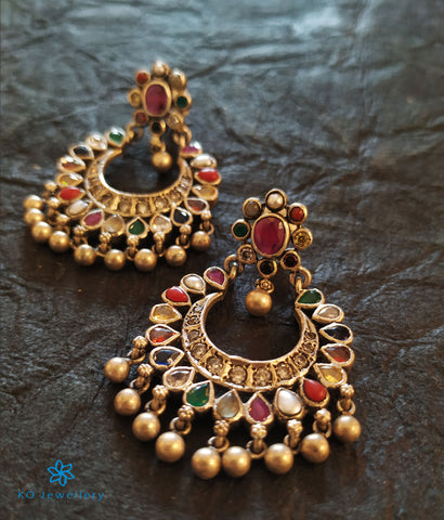 The Madhurya Silver Navaratna Chand Bali (Oxidised)