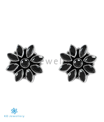 The Samad Silver Gemstone Earrings (Black)
