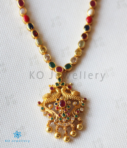 The Samarth Silver Navratna Peacock Necklace