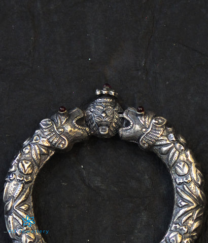 The Purush Antique Silver Tiger Kada(Oxidised)