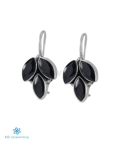 The Mrinal Silver Gemstone Earrings (Black)