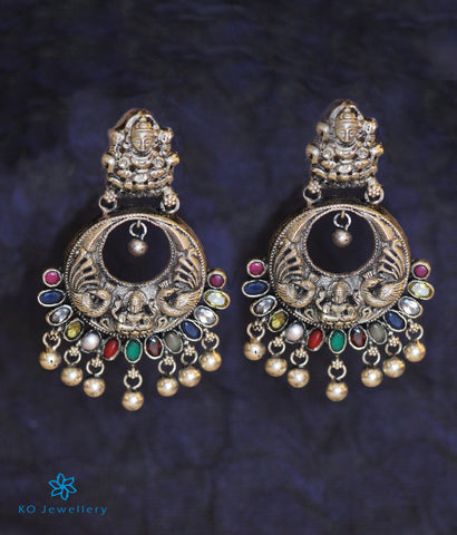 The Shraddha Antique Silver Navaratna Chand Bali (Oxidised)
