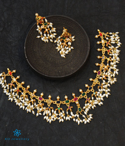 The Pratyusha Silver Navratna Necklace (Long/Rice Pearls)