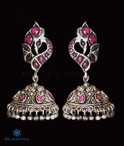 The Miraya Silver Peacock Jhumka