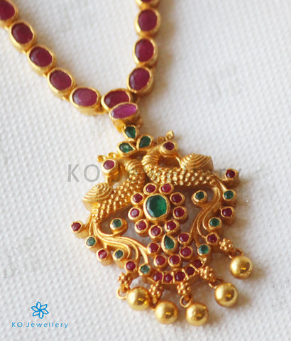 The Samarth Silver Kempu Peacock Necklace(Red/Green)