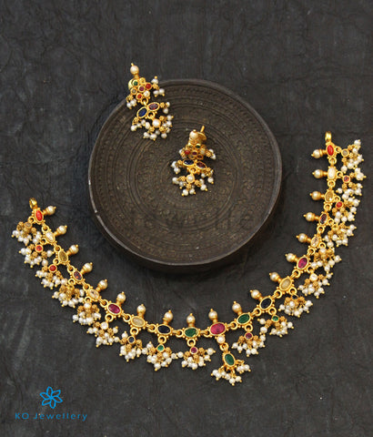 The Pratyusha Silver Navratna Necklace (Round Pearls)