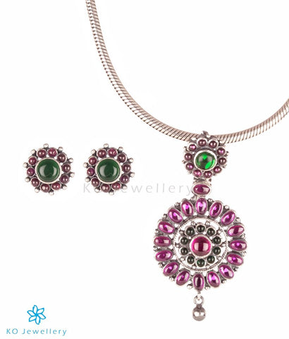 The Nitya Silver Kempu Pendant Set (Oxidised)