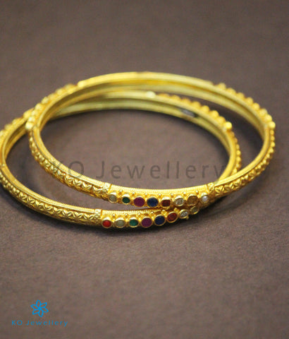 The Rati Silver Navratna Bangle (Size 2.6/2.8)