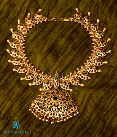 stunning bridal temple jewellery paisley motif necklace