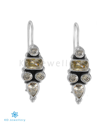 The Azra Silver Gemstone Earrings (White)