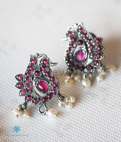 The Sannidhi Silver Peacock Earstuds(Red/Oxidised)