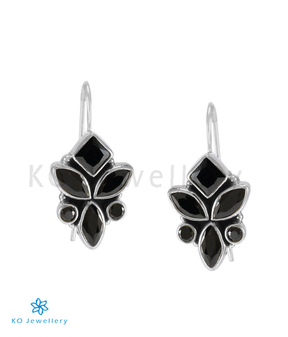 The Tarun Silver Gemstone Earrings (Black)