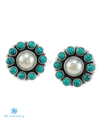The Samidha Silver Gemstone  Earrings (Turquoise/Pearl)