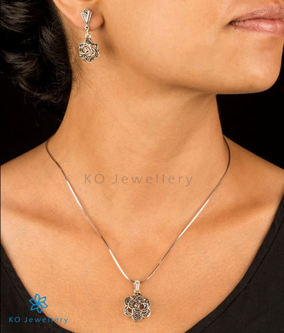 Contemporary Swiss marcasite and silver pendant office wear