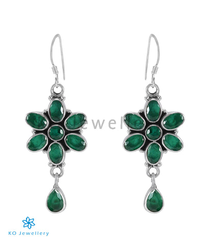 The Katha Silver Gemstone Earrings (Green)