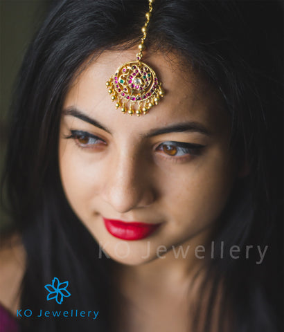 Bridal maang tika gold plated silver jewellery