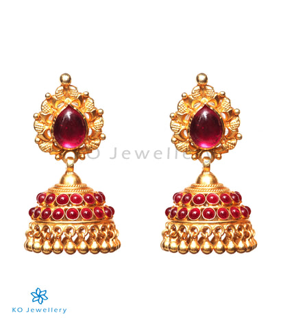 The Aarohi Silver Kempu Jhumka (Red)