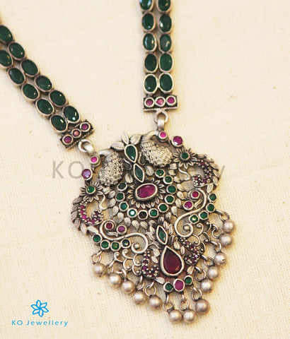 The Madhurya Silver Peacock Kempu Necklace (Oxidised)