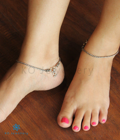 The Silver Rope Anklets