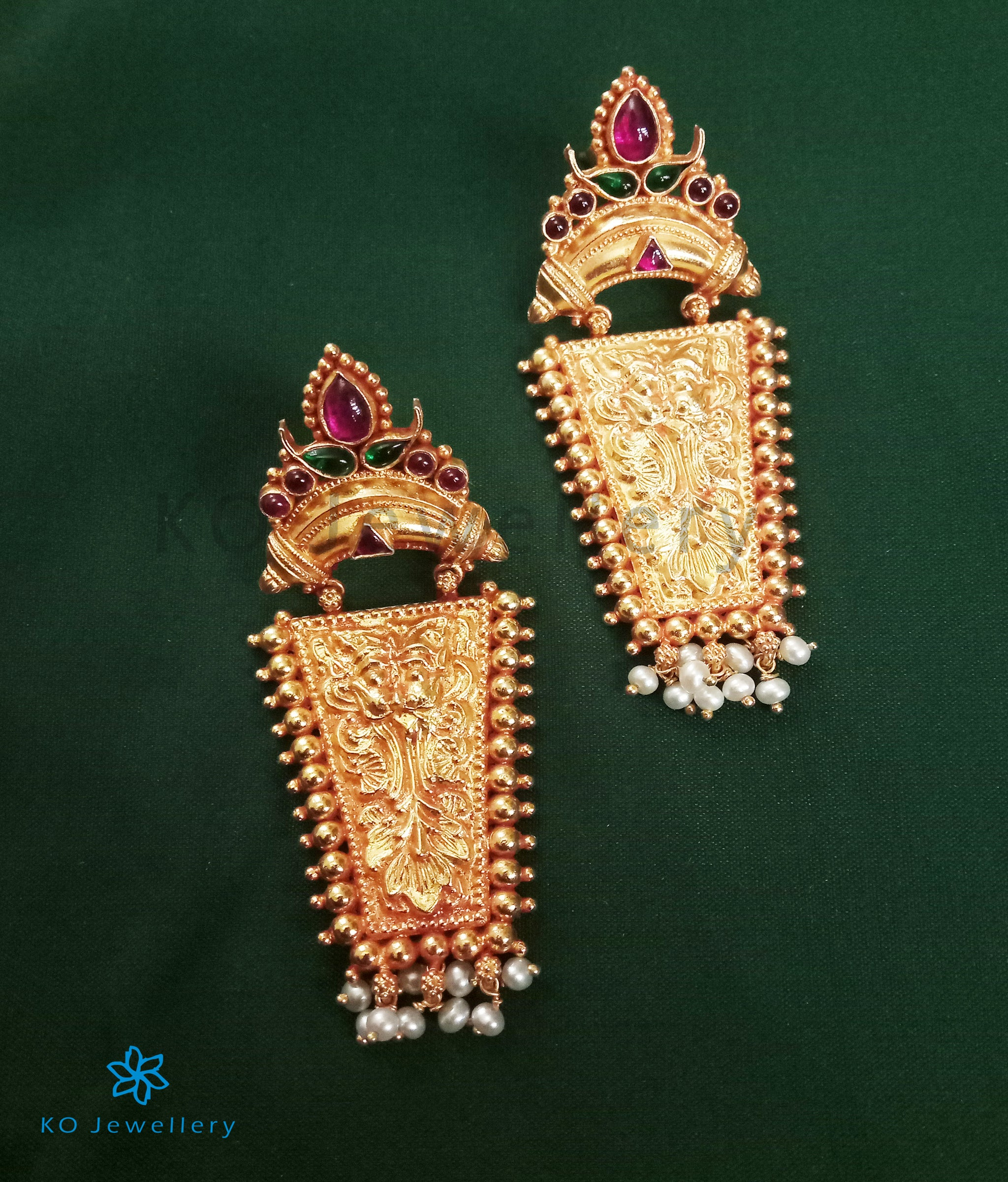 03c0e8d9e82 The Srjati Silver Antique Earrings-Buy Authentic Temple Jewellery Online -  KO Jewellery