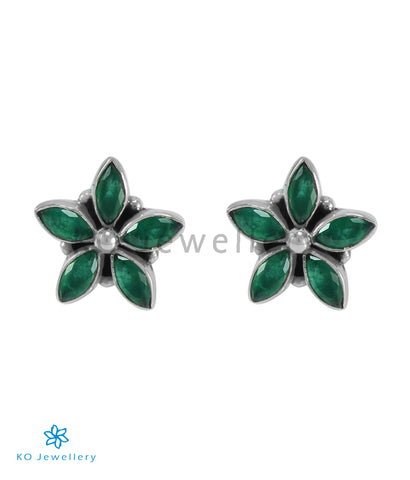The Amita Silver Gemstone Ear-stud (Green)