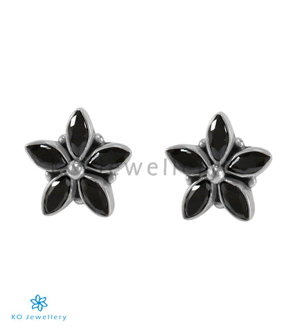 The Amita Silver Gemstone Ear-stud (Black)