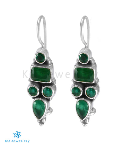 The Azra Silver Gemstone Earrings (Green)