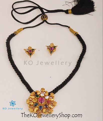 The Ashtalakshmi Silver Navratna Necklace Set