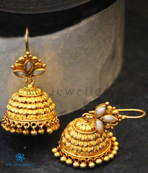 Gold Plated Pearl Jewellery in Silver - Jhumkas