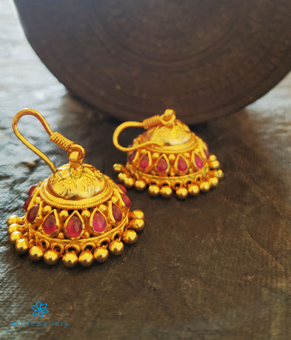 The Ahalya Silver Jhumka (Red)
