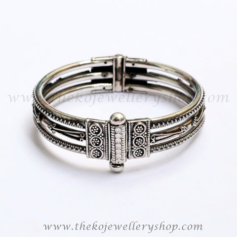 antique silver multi layer bangle