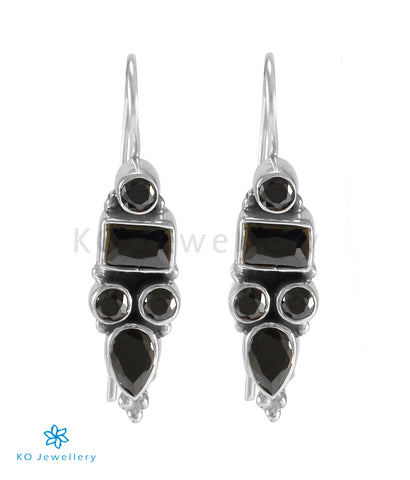 The Azra Silver Gemstone Earrings (Black)