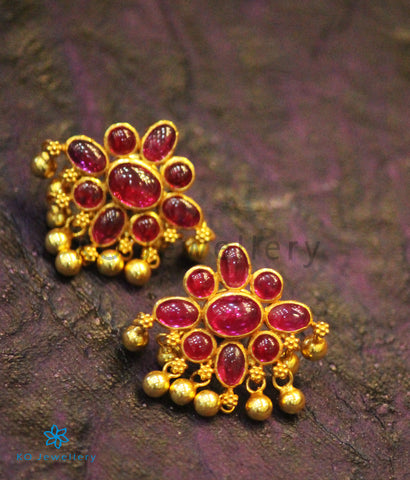 The Ameya Silver Ear-studs(Red)