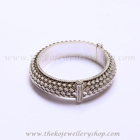 pure silver designer bangle with mesh work