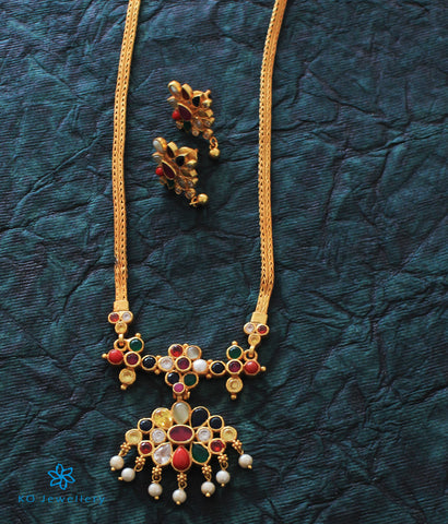 The Mithuna Silver Navratna Necklace