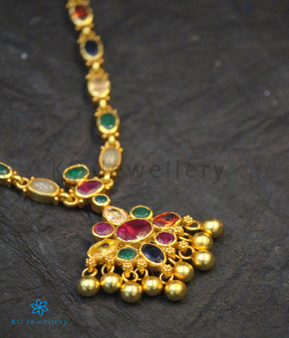 The Vedya Silver Navaratna Necklace