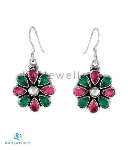The Aamod Silver Gemstone Earrings (Multicolour)