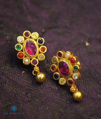 The Navit Silver Earrings (Navratna)